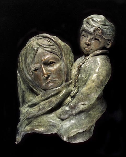 Girl with Child, 19 x 14 x 3, bronze