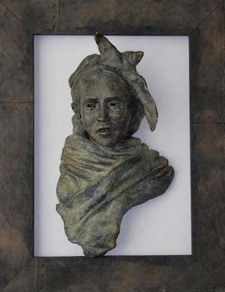 Girl with Scarf (edition 1 sold), 25 x 7.5 x 3, framed bronze