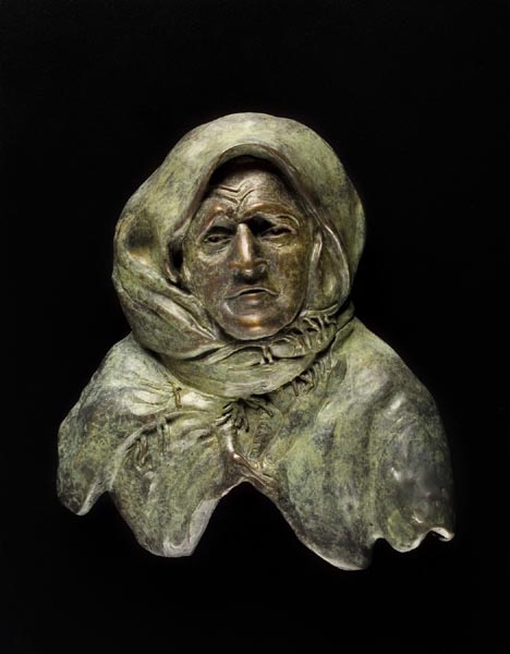 Old Woman, 14 x 15 x 2, bronze