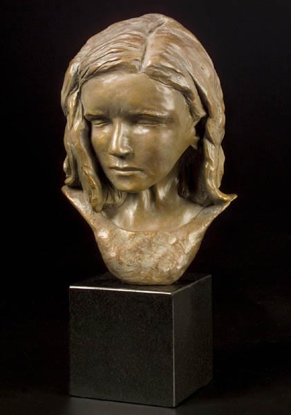 Sad Girl (edition 1 sold), 13.5 x 4 x 6, bronze – marble base